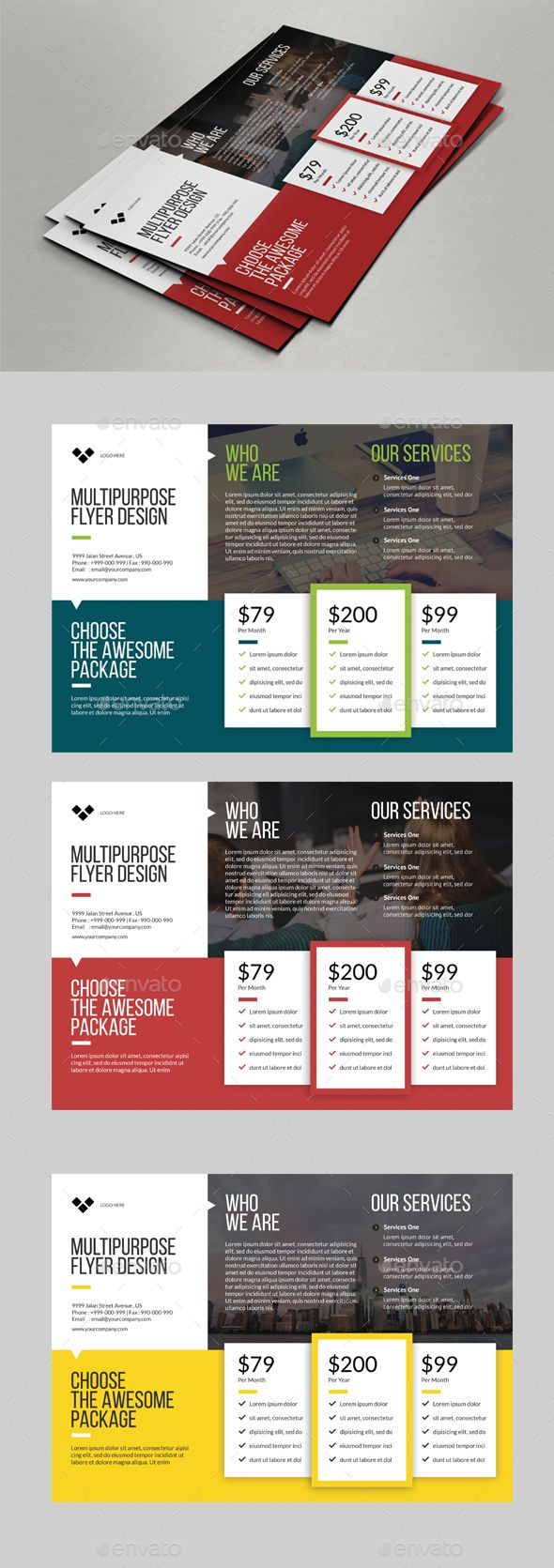 Multipurpose Flyer Price Designs — Photoshop PSD #it solution #green • Available here → https://graphicriver.net/item/multipurpose-flyer-price-designs/16328946?ref=pxcr