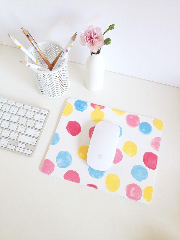 DIY confetti/polka dot mouse pad