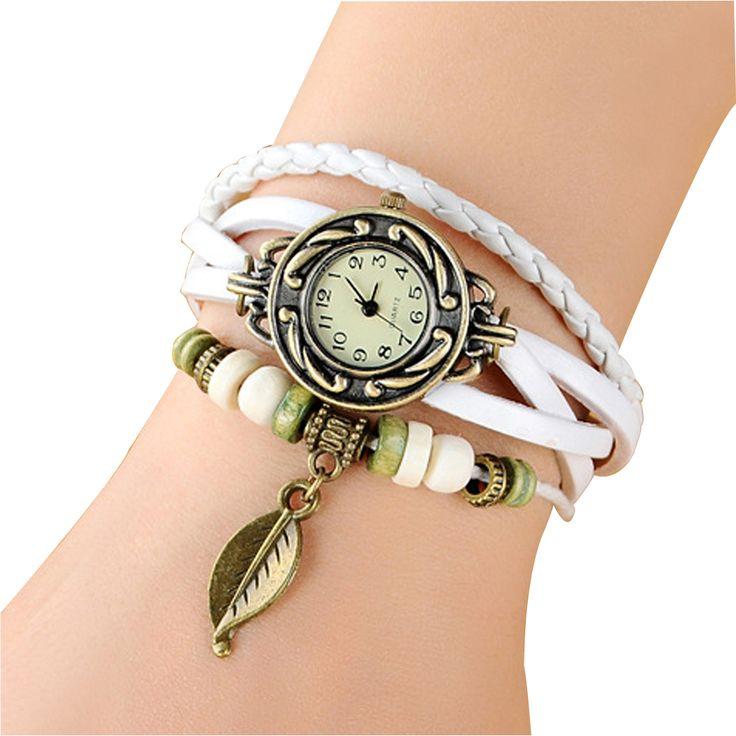2017 New Hot Sales Cow Leather Vintage Watch Women Bracelet Watch Leaf Pendant Free shipping Women Ladies Quartz Wrist Watch