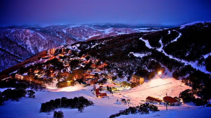 Snow Australia - Falls Creek ski resort at night. A winter wonderland in Victoria #snowaus