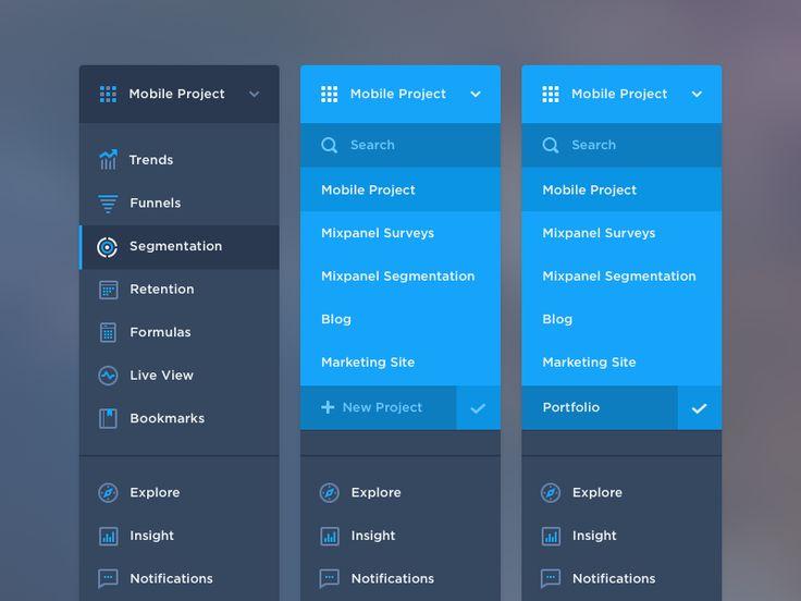 Mixpanel Navigation Menu Icons
