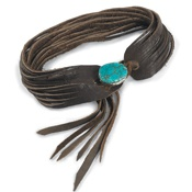 Shredded Leather with Turquoise: Turquoi Leather, Turquoise Leather, Turquoise Stones, Leather Choker, Leather Fringes Cuffs, Shredded Leather, Turquoise Bracelets, Turquoi Bracelets, Cowboys Choker
