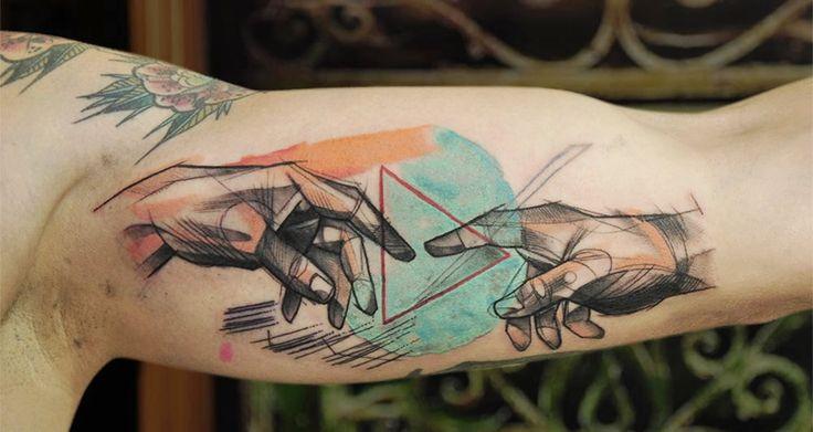 the creation of adam tattoo by Łukasz Zglenicki.