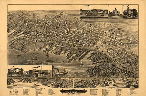 24x36 Vintage Reproduction Historic Map Virginia City Nevada 1875 Storey