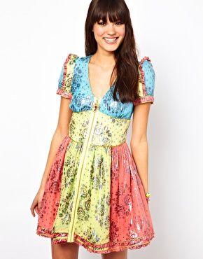 Manoush Printed Mini Dress in Multi