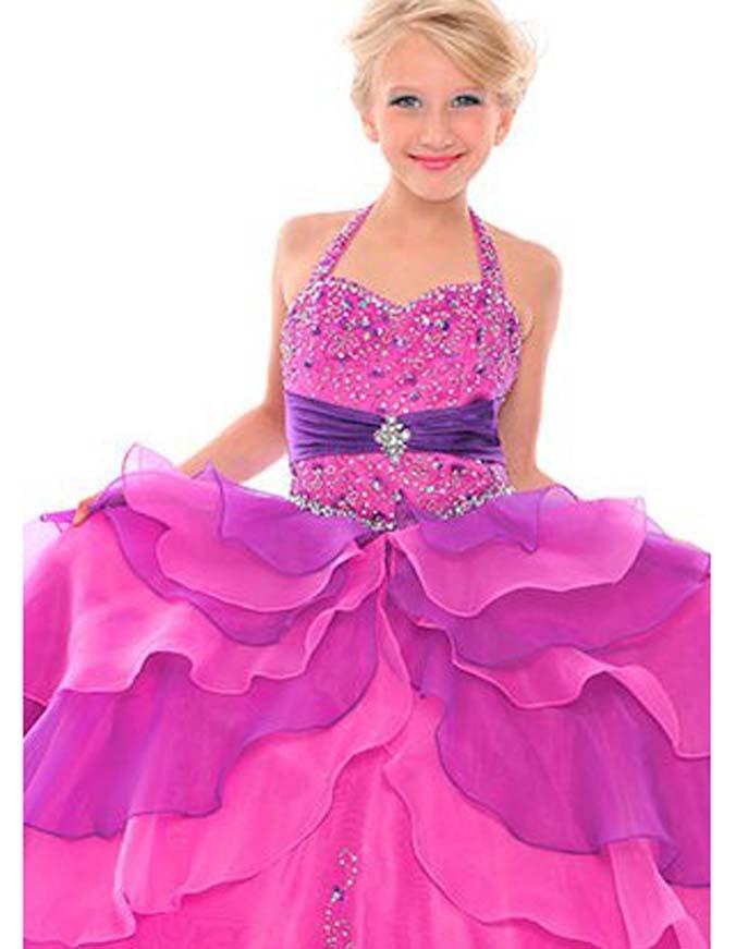 Fabulous Organza Floor Length Sweetheart Girls Pageant Dress