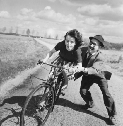 Robert Doisneau  ~ wonderfully captures the magical moment when you first learn to ride a bike!