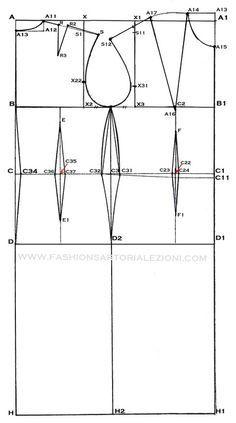 modello base abito tubino con spiegazioni vestibilitá