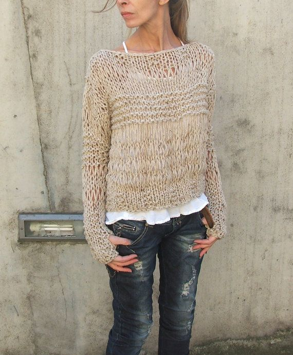 Fawn Alpaca mix Grunge sweater by ileaiye on Etsy.  Cute casual outfit