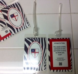 Personalize a Backpack Tag with your church name and a prayer.  Use a luggage tag template, copy, laminate, and add a ribbon or luggage tag hanger.