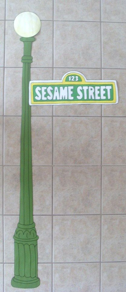 Sesame Street Lamp Post with Sign Custom Hand by