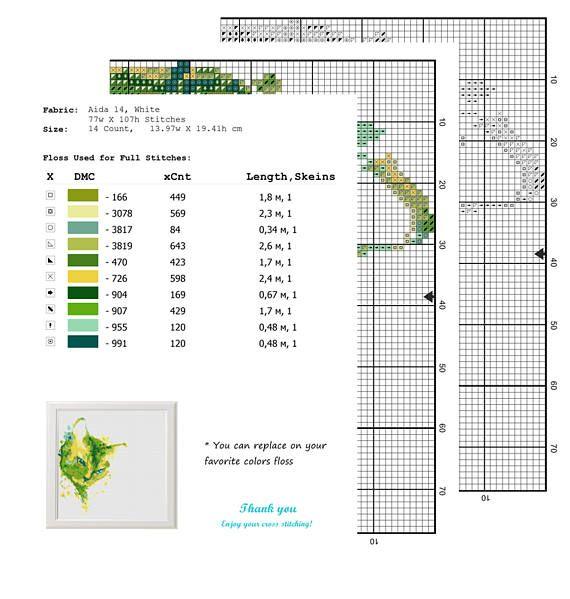 Waterverf Kat Modern geteld Kruissteek patroon PDF Directe