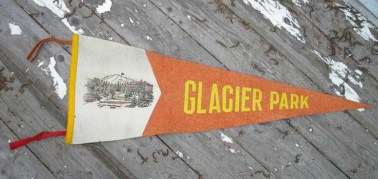 great glacier pennant with lake mcdonald hotel on it
