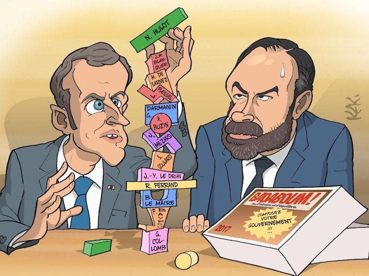 Macron's new French government, a wobbly house of cards, cartoon