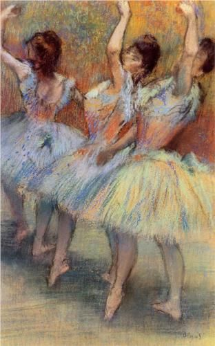 Three Dancers - Edgar Degas (1834-1917), a French artist famous for his paintings, sculptures, prints, and drawings.  Periods: Impressionism, Modern art, Realism, and Pastel Art.