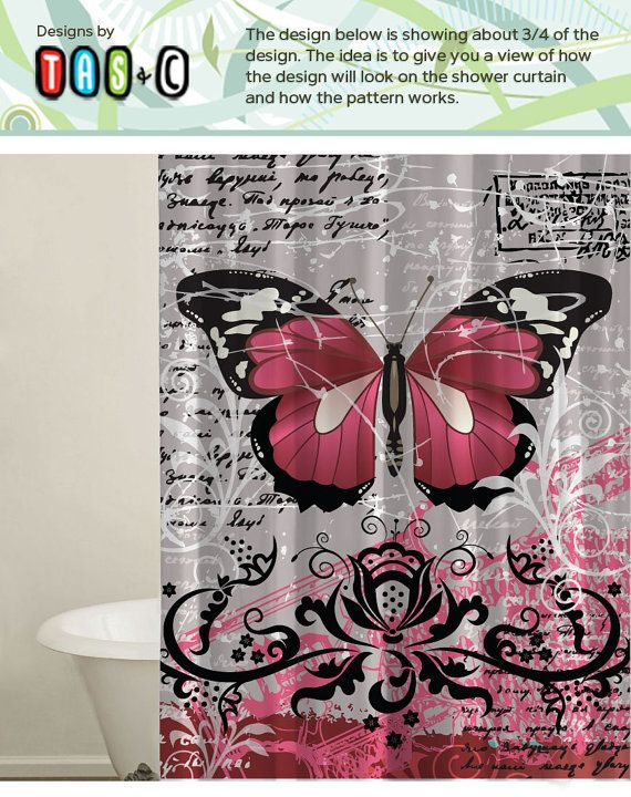 Butterfly Curtain, Bath tub Curtain, Pink Curtain, Bathroom Curtains, Shower Curtain Sets, Extra Long Curtain, Modern Bathroom Curtain.  This listing is for a fabric shower curtain or a living room curtain. The material is a nice and thick which can be used for any location you need a curtain. Feel free to convo me if you have any questions.  • 100% Softened Polyester. • Standard size with 12 stitch-enforced eyelets for hanging. • Heavyweight fabric and hand sewn. • Product is produce in the…