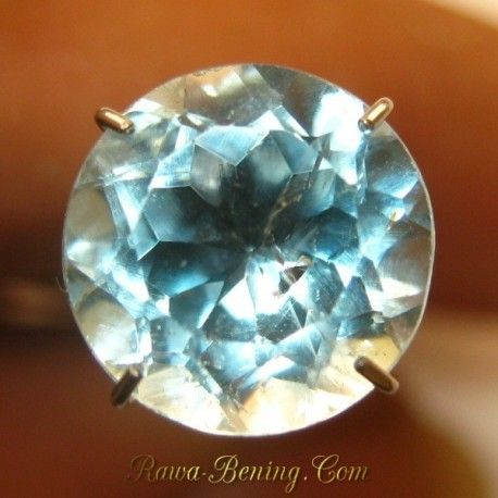 Jual Batu Permata Natural Round Cut Sky Topaz 3.60 carat www.rawa-bening.com