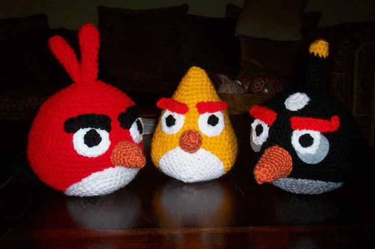 Handmade Angry Bird Dolls. Get them here - https://www.facebook.com/CBKnits