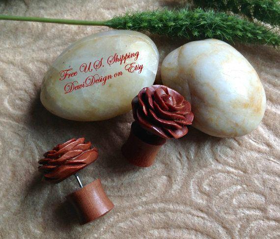 "Fake Gauge Plugs, ""Rosette"" Naturally Organic, Saba Wood, Hand Carved, Tribal"