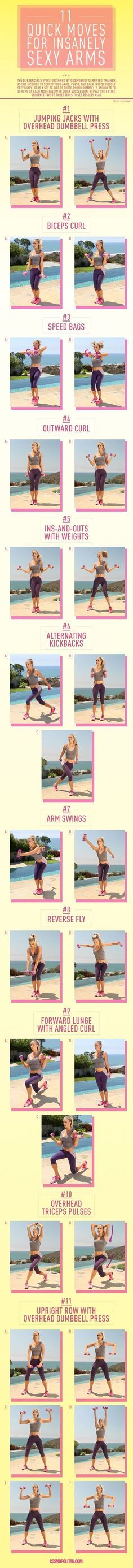 SIMPLE WORKOUT MOVES TO GET SEXY ARMS: Want to sculpt your arms and shoulders into seriously sexy shape? These exercises were designed by CosmoBody certified trainer Astrid McGuire to do just that. Grab a set of 2- to 3-pound dumbbells, and do 20 to 30 reps of each move below in quick succession. Repeat the entire sequence two to three times to see results ASAP, and get a bonus burn in your back, chest, and legs. Click through for the full workout info and for instructional gifs that show…