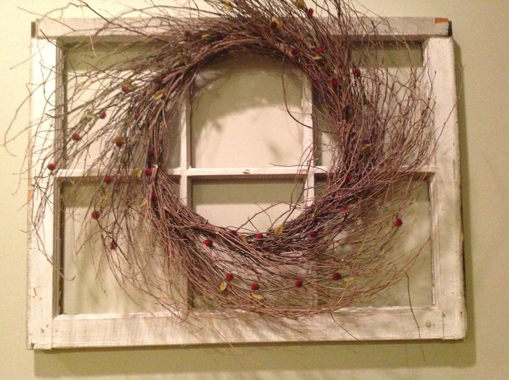 Antique window pain with wreath hanging on it... | House ...