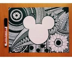 Mickey Mouse Zentangle Drawing: I like this a lot, but I would maybe make the sharpie pattern little smaller