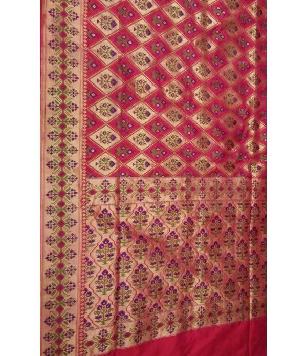 Pink Banarasi Handloom Patola Design Katan Silk Saree