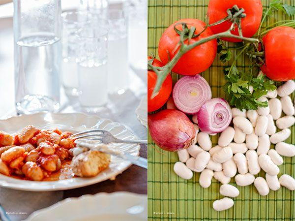Gigantes (lima beans in tomato sauce) Greek recipe.