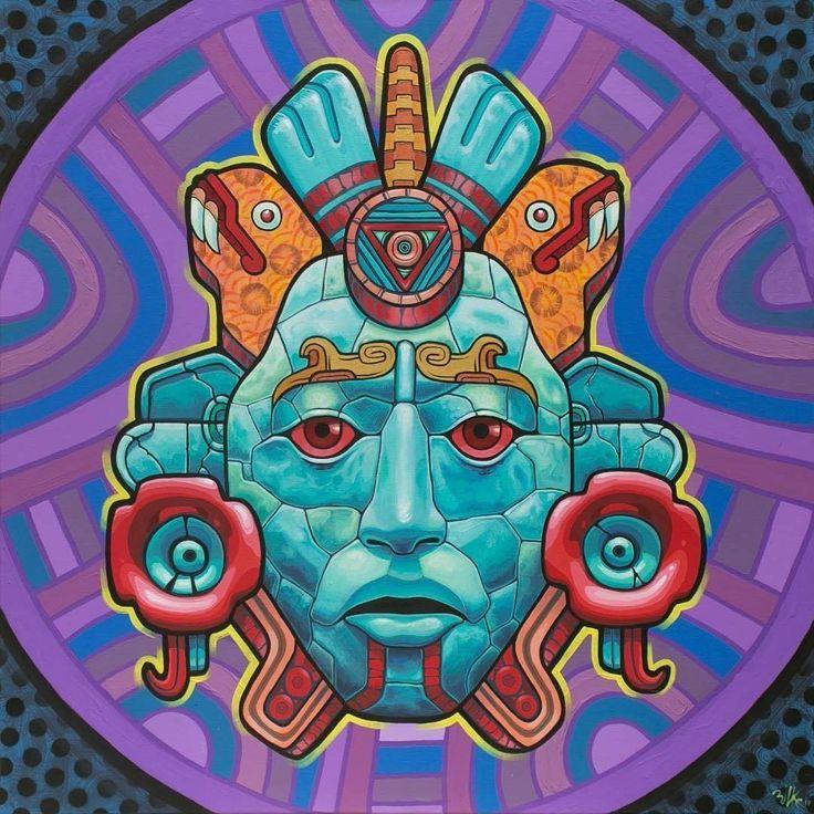 "neomexicanismos: """"Xochicoatl"" Artista @rilke.guillen #neomexicanismos #prehispanic #prehispanico #xochitl #coatl #mask #mascara #snake #flower #flor #serpiente #aztec #azteca #maya #mayan #popart..."