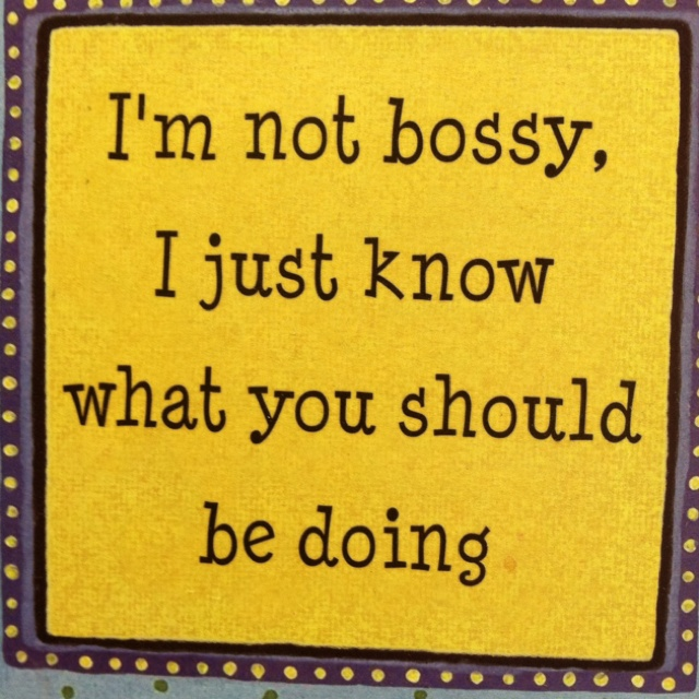 Someone told me something like this about myself a few days ago.  That I came off as bossy because tell people what they need to do (at work) since i've been there longer.  Oh well.  It's true.