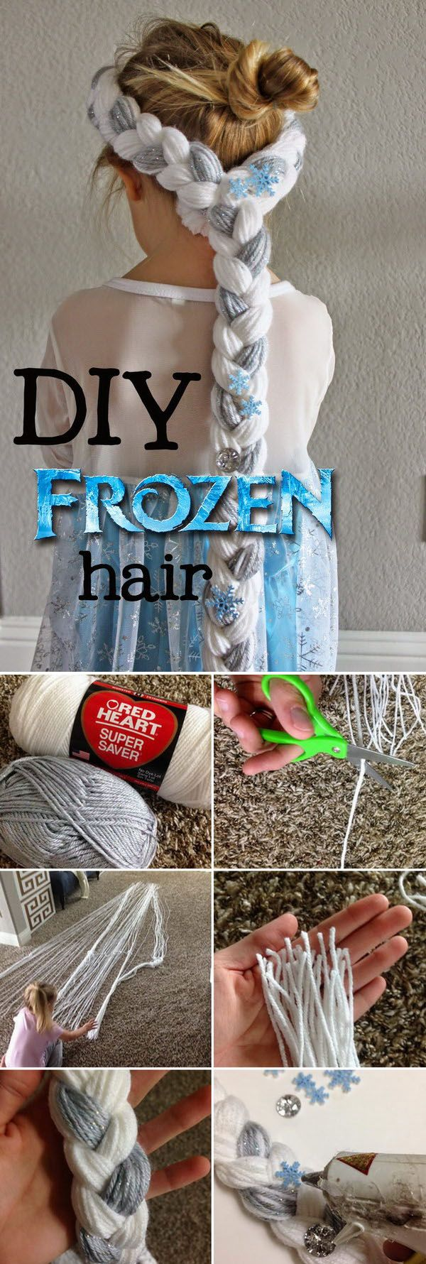 DIY Hair for Frozen Party. This fun project was so simple and it takes less than an hour to make!