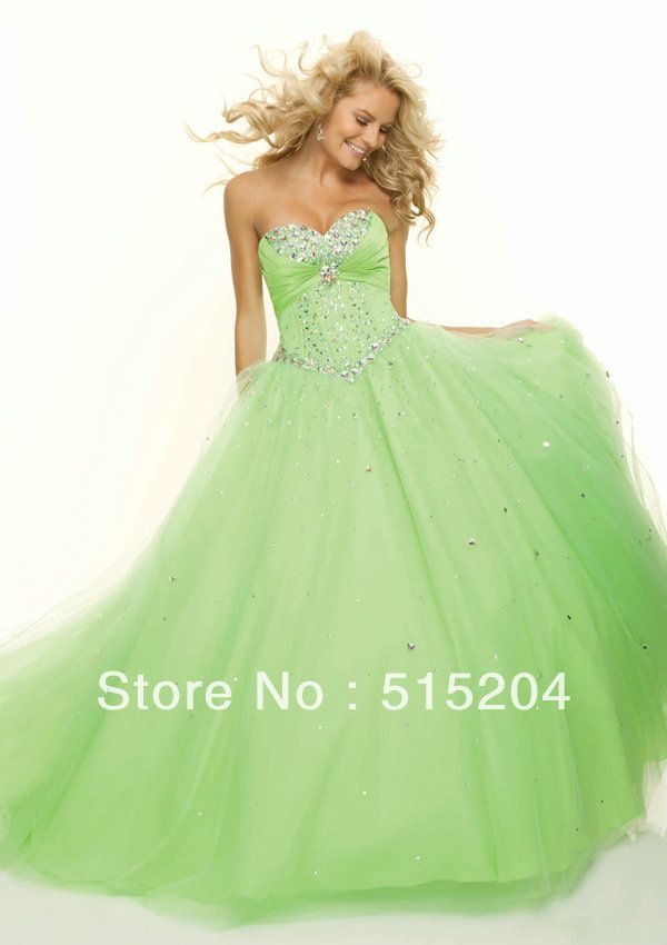 Green Wedding Dresses with Rhinestones | ... Green Color Sparkle Rhinestone Sweetheart Ball Gown Prom Dress 2013