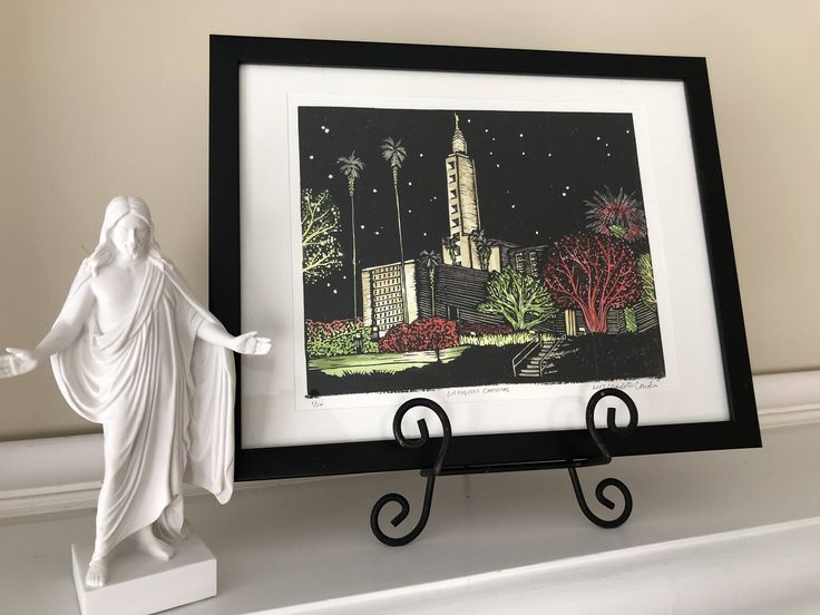 Christmas, LDS, Mormon, temple, original art, print, linoprint, 8x10, gold, black, Mormon art