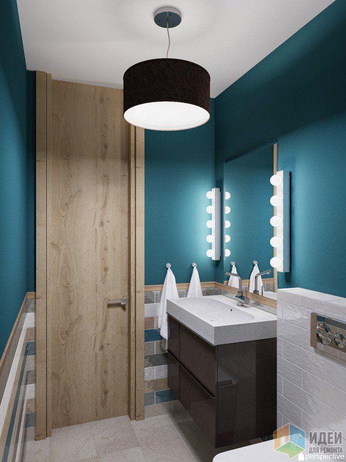 Интерьер ванной комнаты, бело-синяя ванная