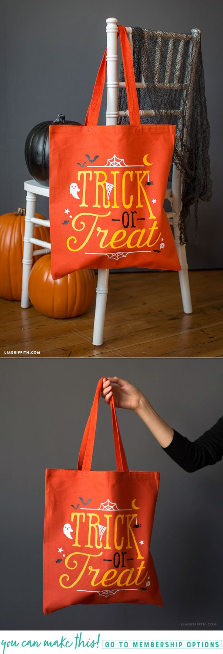 Halloween Tote Bag Iron-On - Lia Griffith - www.liagriffith.com #diyinspiration #diyidea #diyideas #diyproject #diyprojects #totebag #trickortreat #diyhalloween #madewithlia