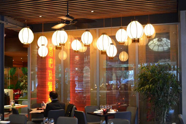 Brompton Brasserie. Bespoke lantern pendant lampshades.