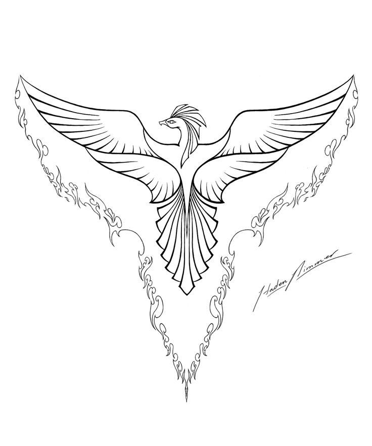 Bird Line Drawing Tattoo : Phoenix sketch february  colouring line art i