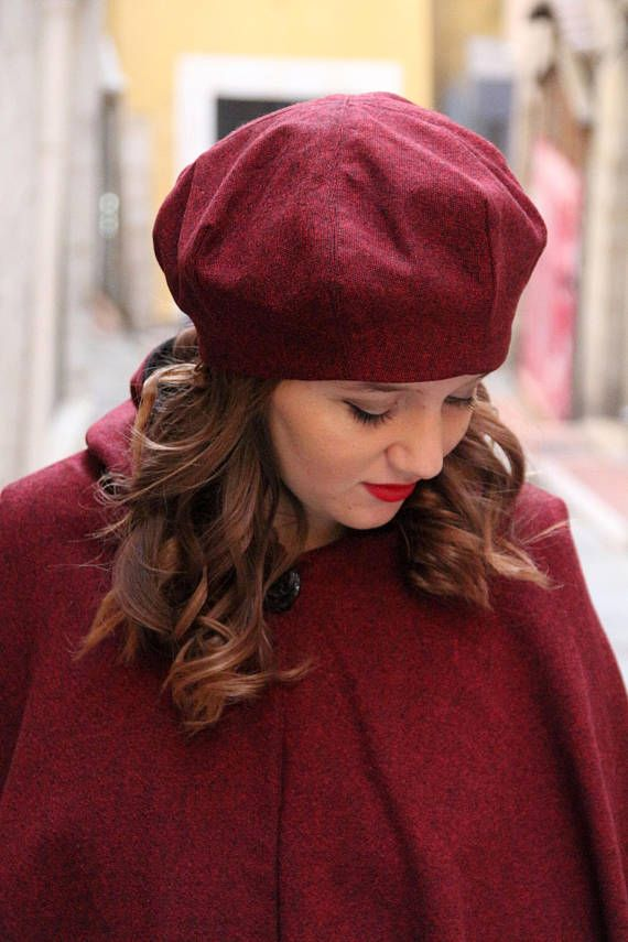 b12895b01e5 Dark red hat. Slouchy beret. French beret. Red wool hat. Woolen beret.  Delisa hat. Designer hat. Womens winter hat. Hat for woman Fabulous