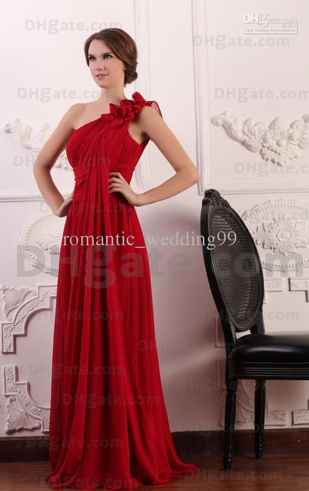 Red Grecian Bridesmaid Dresses