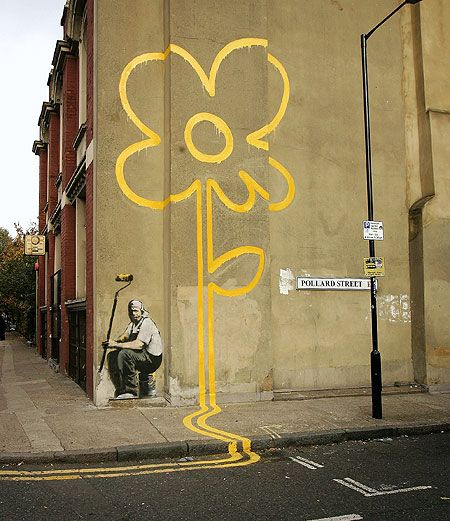 Banksy, Yellow Lines Flower Painter on Pollard Street, November 1, 2007