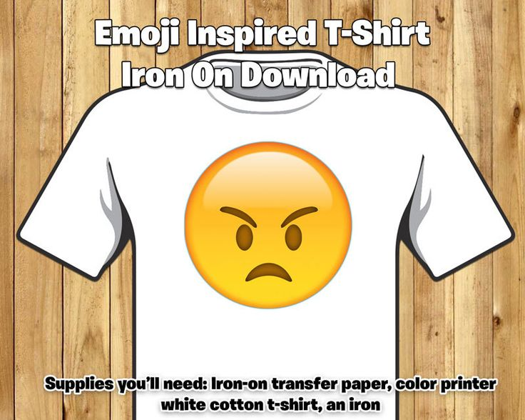 DIY Emoji Inspired T-Shirt Iron On - Angry Face Emoji Iron On - Angry Emoji T-shirt Iron-On Instant Download Grumpy Emoji Grumpy Face Emoji by instbirthday on Etsy