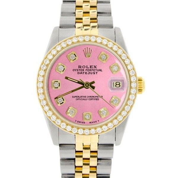 Pre-owned Rolex Datejust Two-Tone Hot Pink Dial & Diamond Bezel 31mm... ($5,814) ❤ liked on Polyvore featuring jewelry, watches, preowned watches, diamond bezel watches, rolex watches, pink-face watches and rolex wrist watch