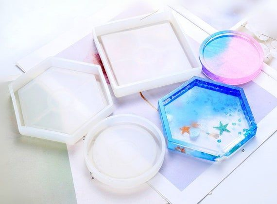 DIY Clear Coaster Silicone Mold Tray Ornament Jewelry Making Resin Casting Mould