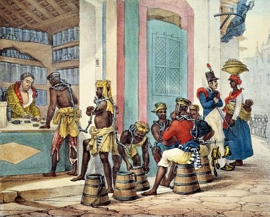 Titulo de la imágen Jean Baptiste Debret - Manacled slaves buying tobacco from a Tobacco shop in Rio de Janeiro