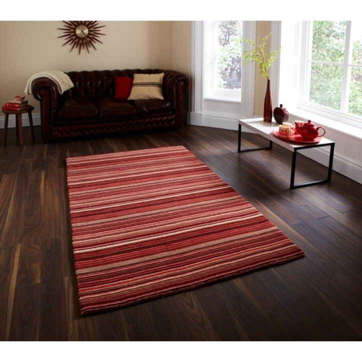 Contemporary Red & Beige Vibrant  Thick Wool Area Rug - Denver