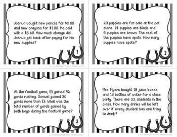 Multistep Word Problems Task Cards FREE