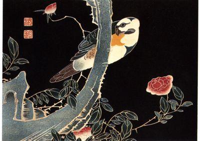 伊藤若冲(Ito Jakuchu)「薔薇に鸚哥図」(1771)