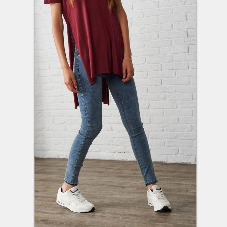 cool Womens Snowflake Stretch Skinny Mid Waist Jean