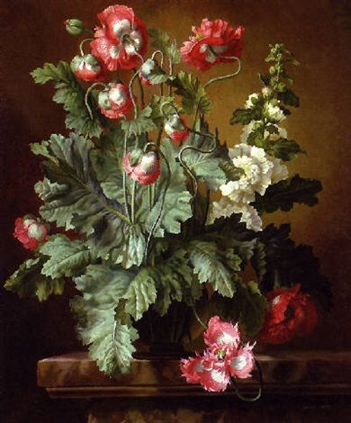 Still Life with Poppies and Hollyhocks by Gerald A. Cooper