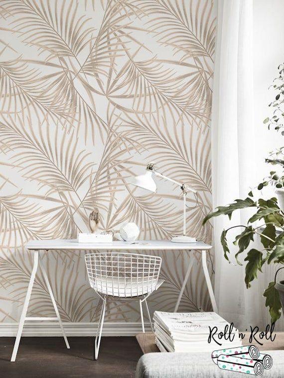 Gold Palm Removable Wallpaper Golden Leaves Tropical Wall Etsy Decoracion Con Papel Tapiz Papel Pintado De Casa Decoracion De Pared